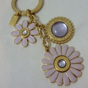 XL Coach Flower Mix Purple Gold Key Chain Ring